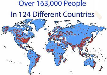 163,000 people in 124 different countries